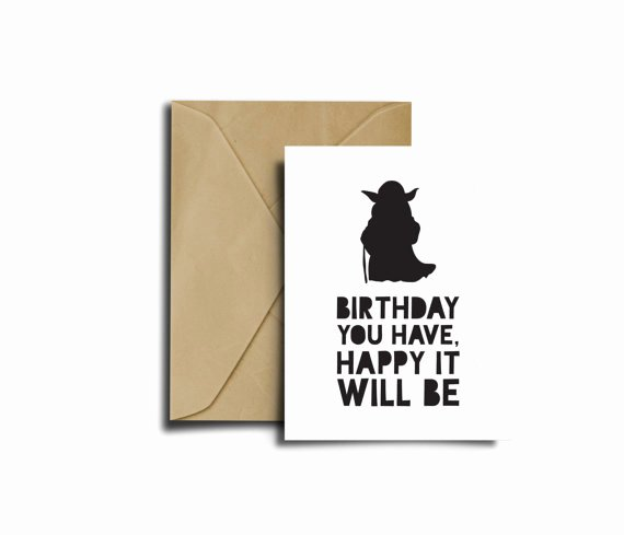 Star Wars Printable Birthday Cards New Star Wars Bithday Yoda Card Star Wars Birthday Card
