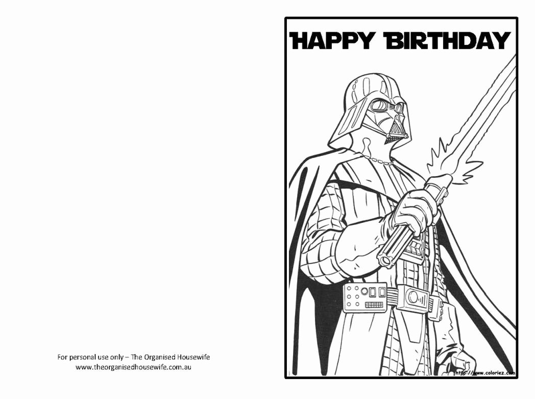 Star Wars Printable Birthday Cards Unique Star Wars Happy Birthday Card Coloring Pages
