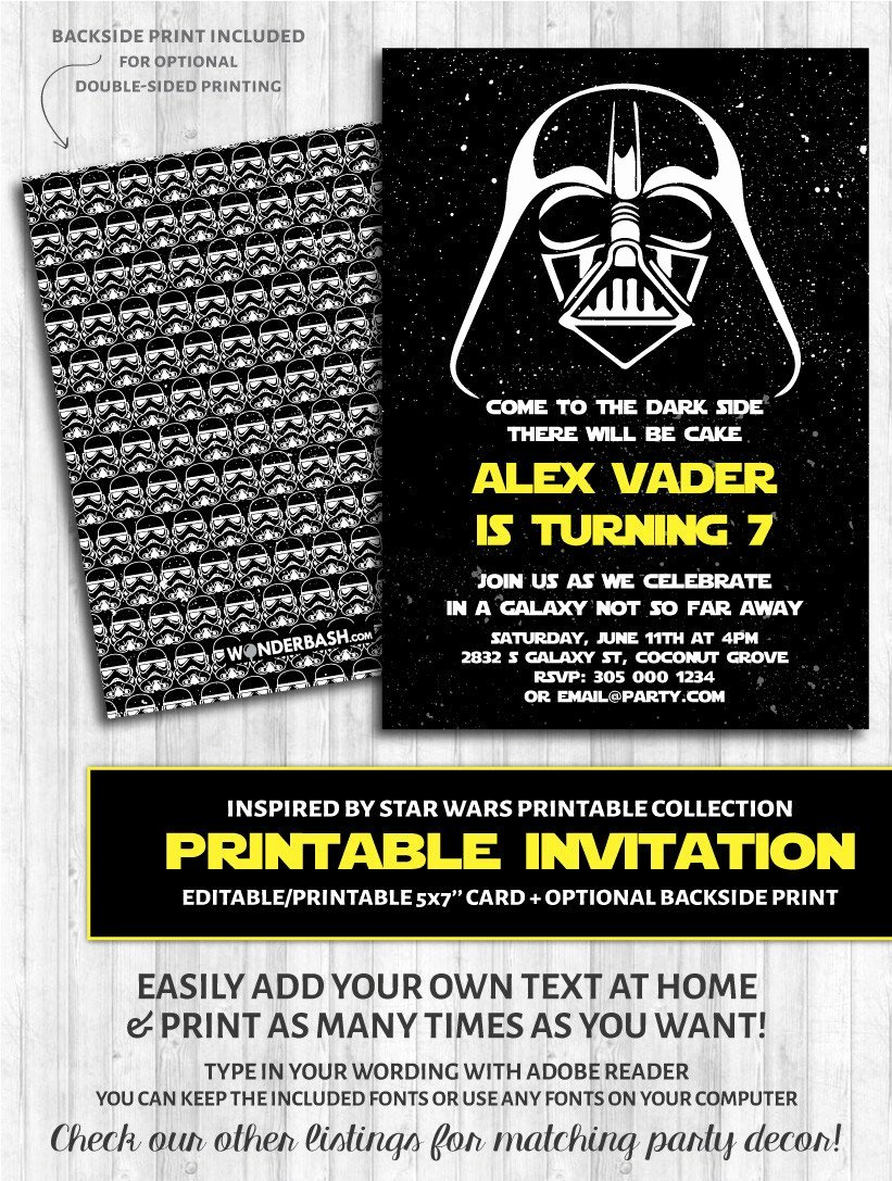 Star Wars Printable Birthday Invitations Beautiful Galaxy Dark Side Inspired by Star Wars Invitations