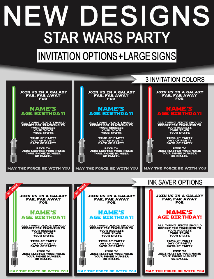 Star Wars Printable Birthday Invitations Beautiful Star Wars Birthday Party Invitations & Signs