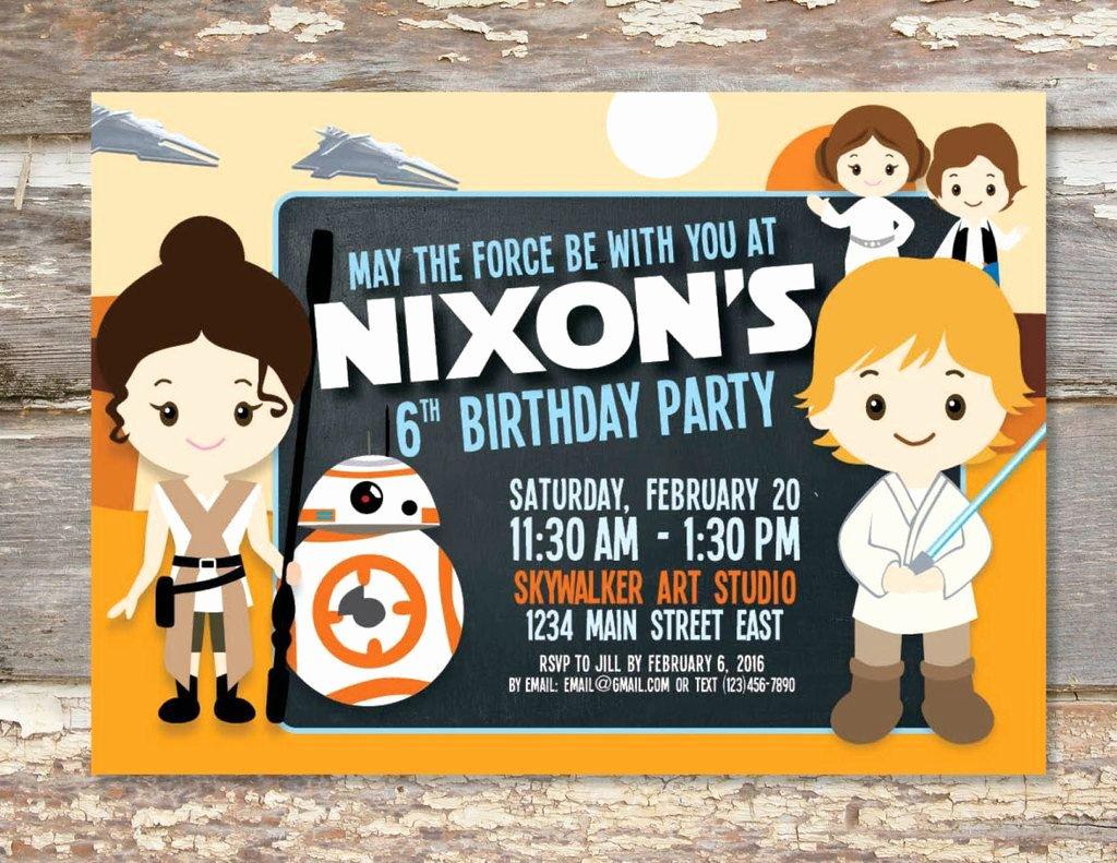 Star Wars Printable Birthday Invitations Elegant 40 Star Wars the force Awakens Birthday Party Ideas
