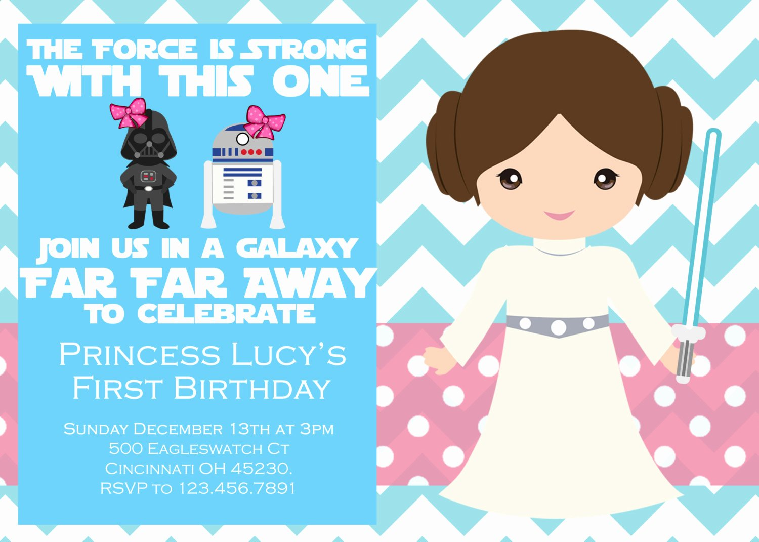 Star Wars Printable Birthday Invitations Elegant Girl Star Wars Birthday Party Invitation by Emilypowelldesigns