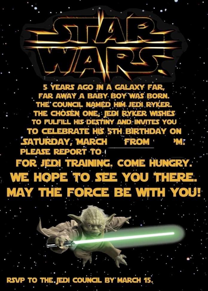 Star Wars Printable Birthday Invitations Fresh Free Printable Star Wars Birthday Invitations