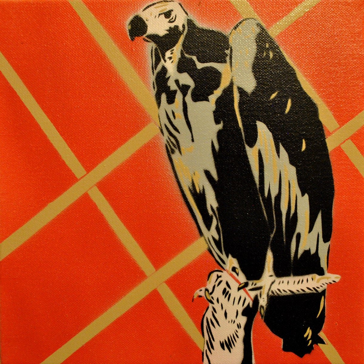perched vulture spray paint stencil