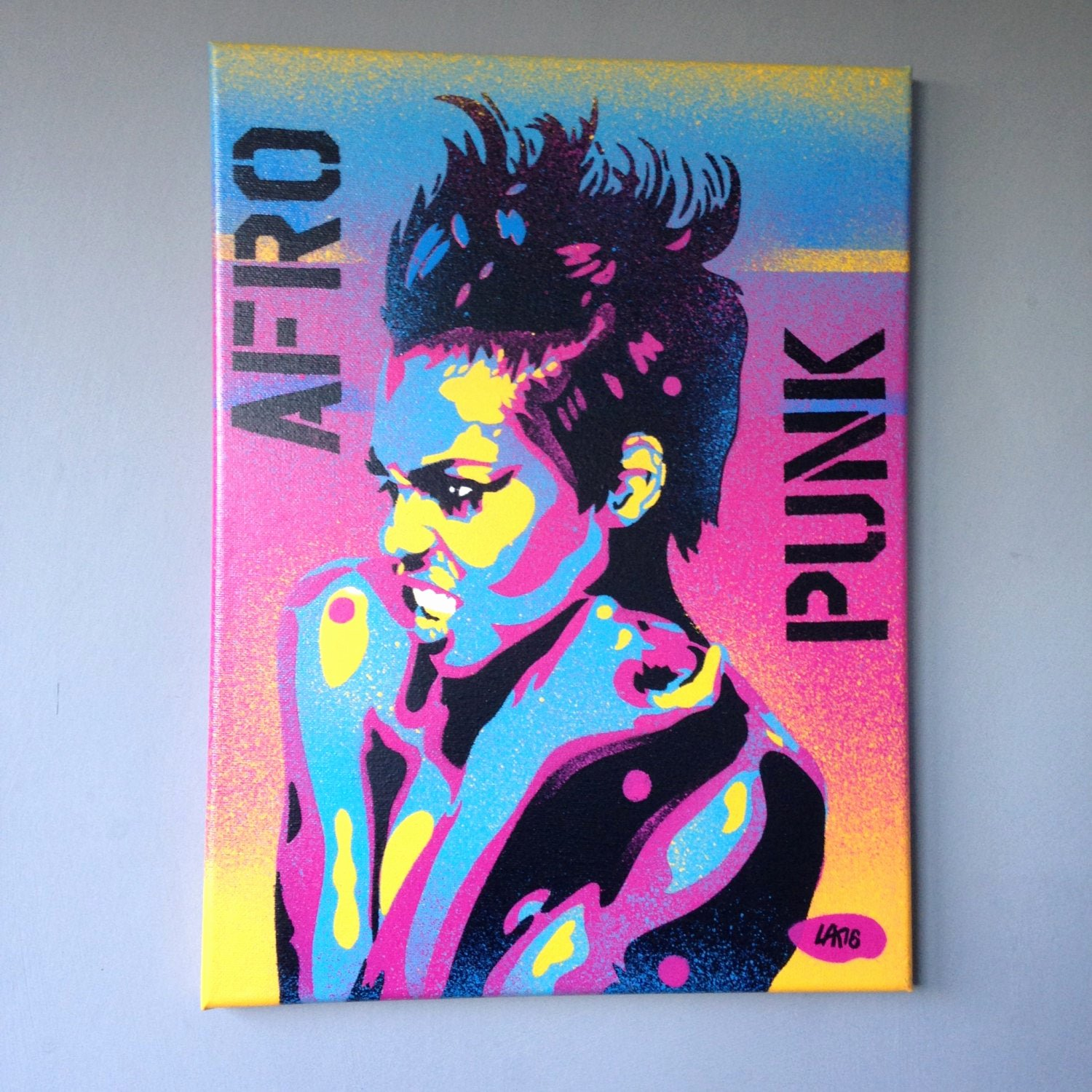 Stenciling with Spray Paint New Afro Punk Canvas Paintingstencil Artspray Paint Artpop