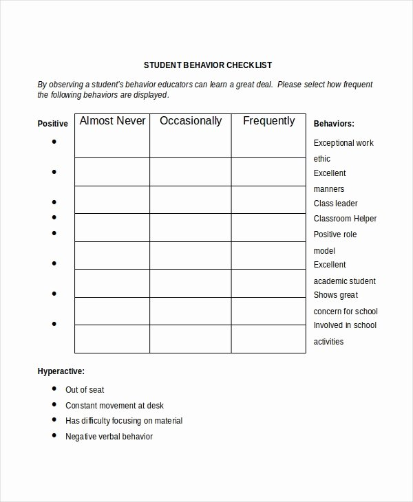 Student Behavior Observation Checklist Lovely Student Checklist Template 8 Free Word Excel Pdf