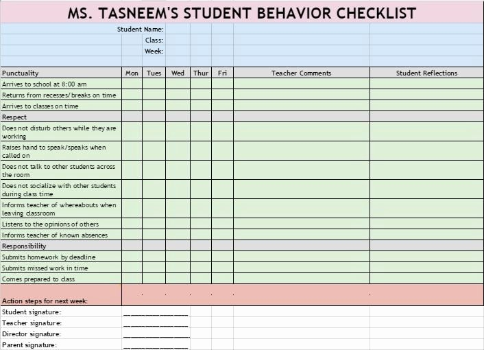 Student Behavior Observation Checklist New Checklist to Monitor High School Students Behavior that