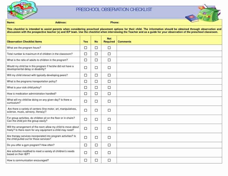 Student Behavior Observation Checklist Unique Preschool Teacher Observation Checklist