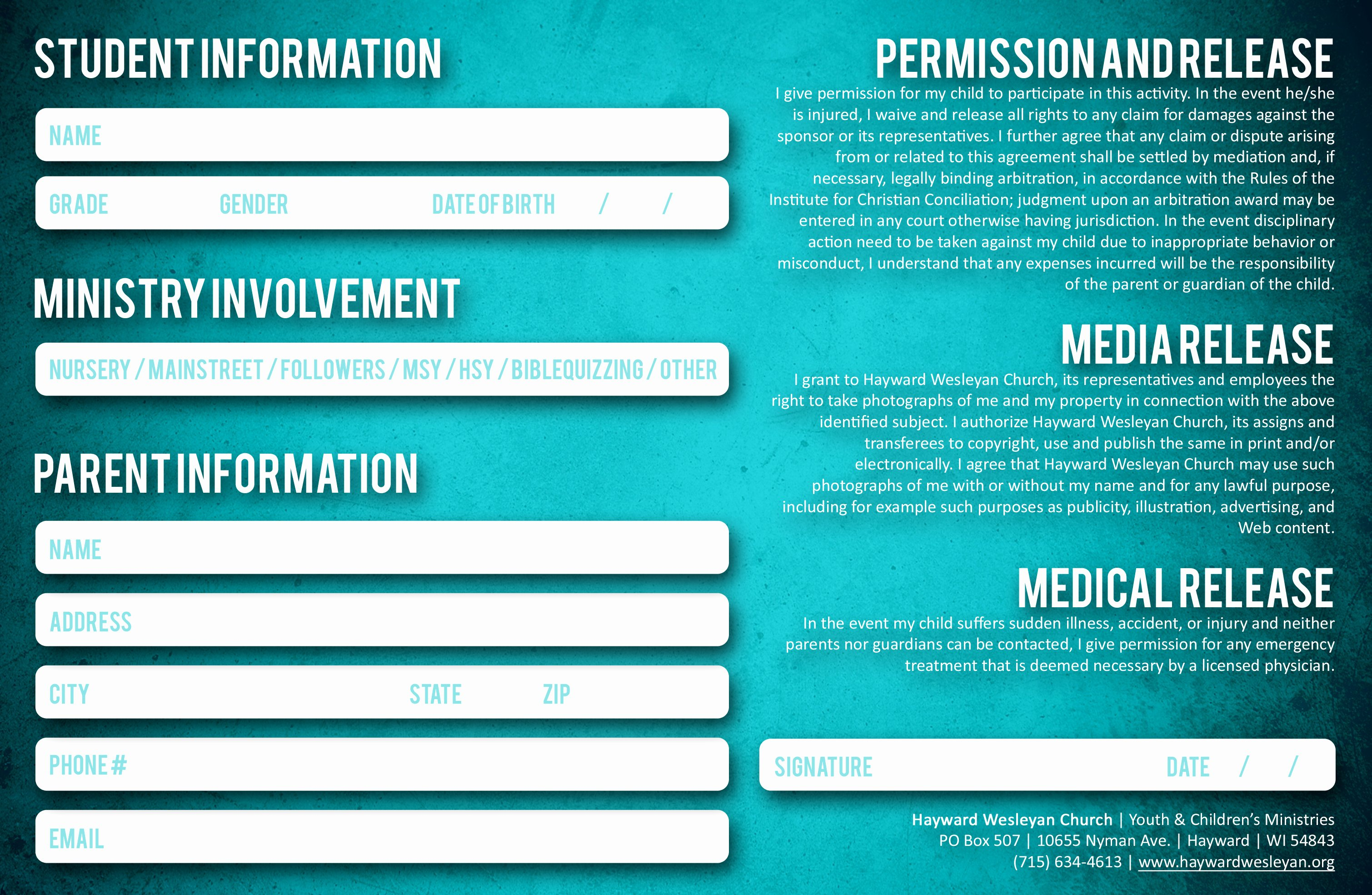 Student Information Card Template Awesome Student and Parent Information and Release Cards