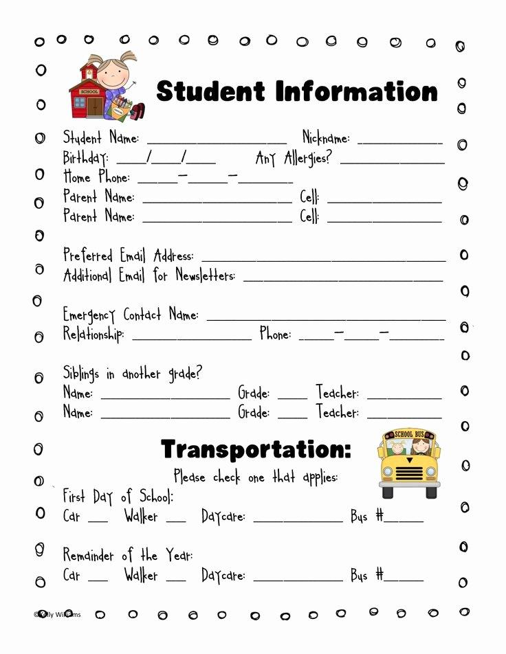 Student Information Card Template Elegant Best 25 School forms Ideas On Pinterest