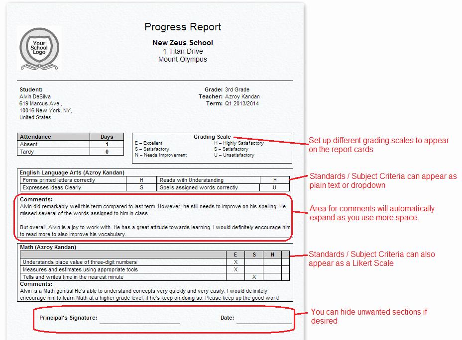 Student Information Card Template Elegant Report Cards for Primary K 3 K 8 Schools