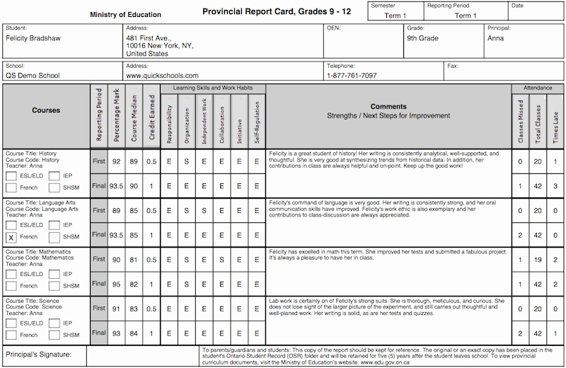 Student Information Card Template Elegant the Tario Province Report Card Template