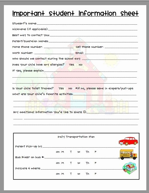 Student Information Sheet for Teachers Awesome Parent Contact Pinned by Pediastaff – Please Visit