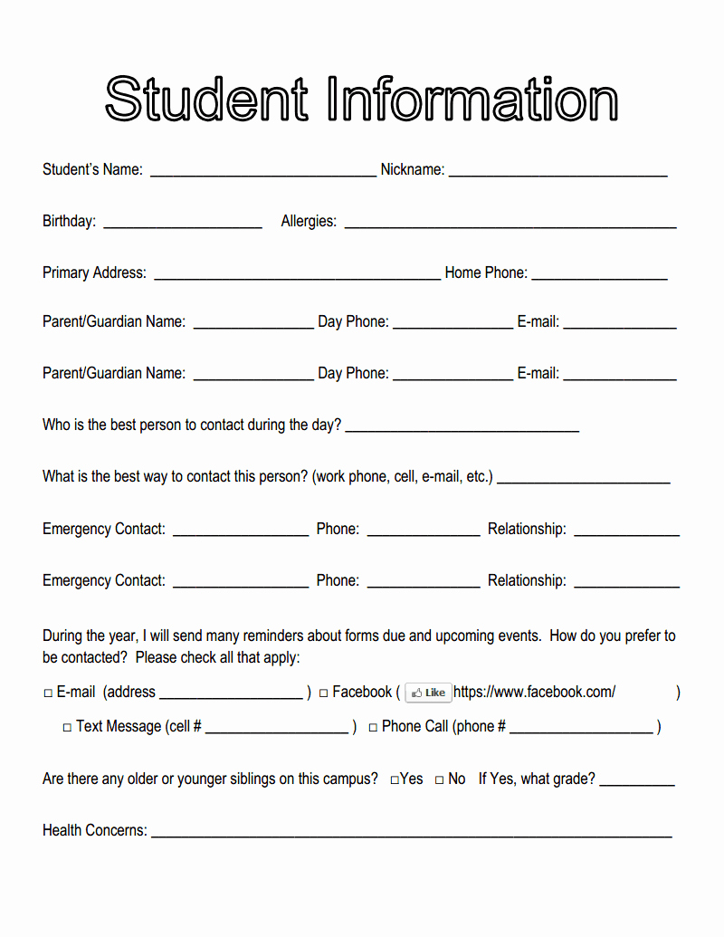 Student Information Sheet for Teachers Elegant Student Information for Blog2cx