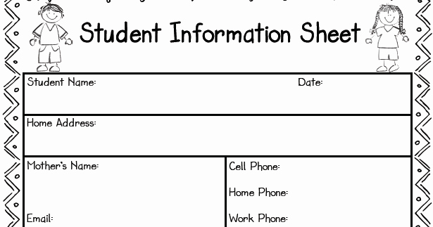 student information sheet freebie 27
