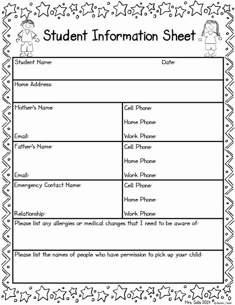 Student Information Sheet for Teachers Fresh Student Information Sheet Freebie