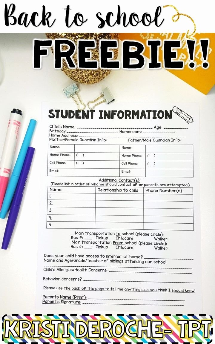Student Information Sheet for Teachers New 17 Best Ideas About Student Information Sheets On