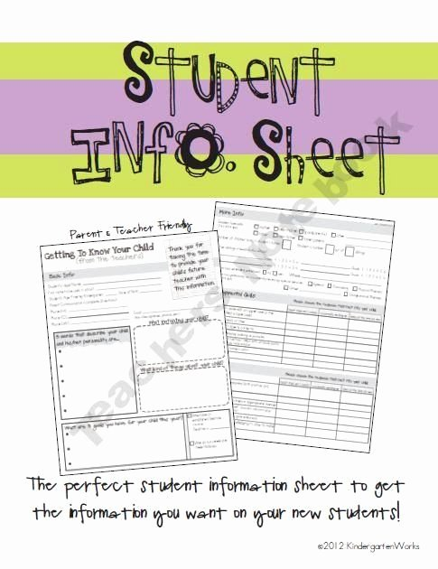 Student Information Sheet for Teachers New Free Student Info Sheet From Kindergartenworks