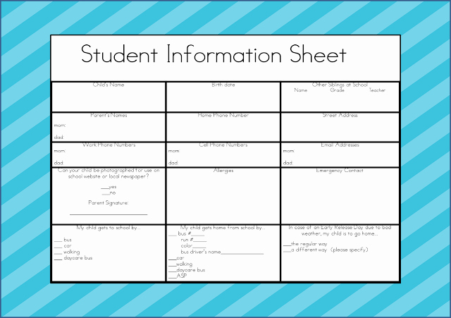 "Student Information Sheet for Teachers New the Kinder""garden"" Teacher Student Information Sheet"