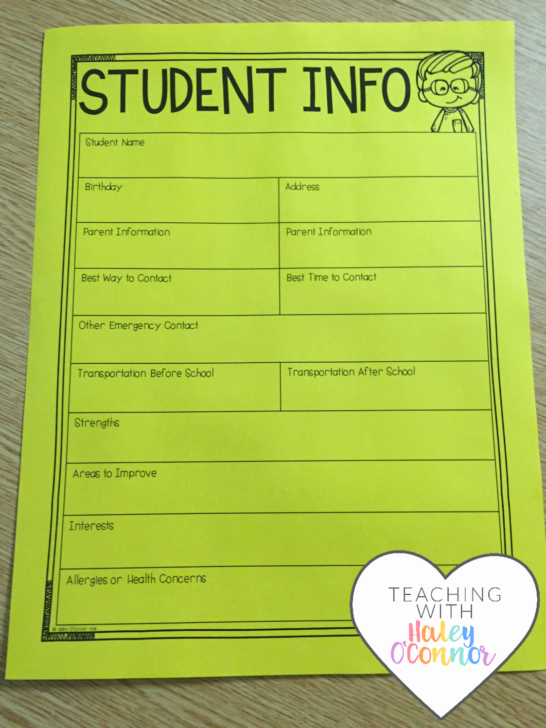 Student Information Sheet for Teachers Unique Classroom Survival Kit