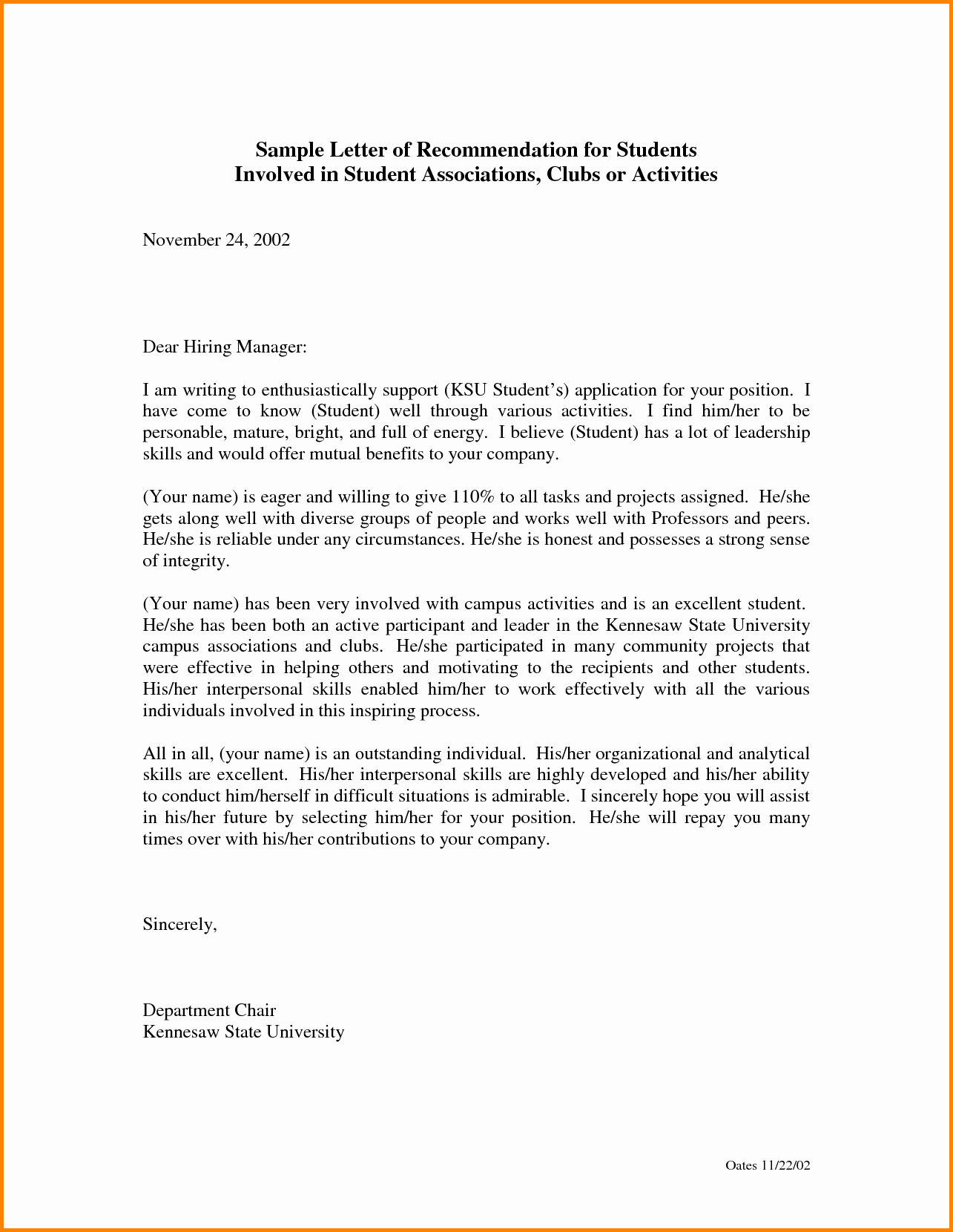 Student Letter Of Recommendation Samples Awesome Letter Re Mendation for Student Free Download Aashe