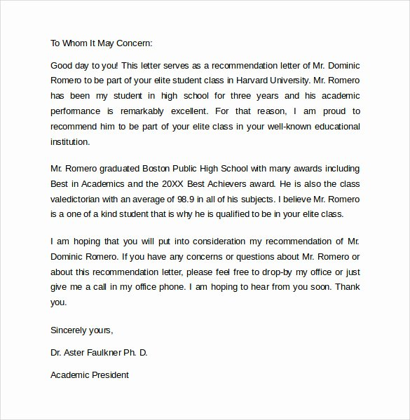 Student Letter Of Recommendation Samples Lovely Re Mendation Letter 8 Samples Examples formats