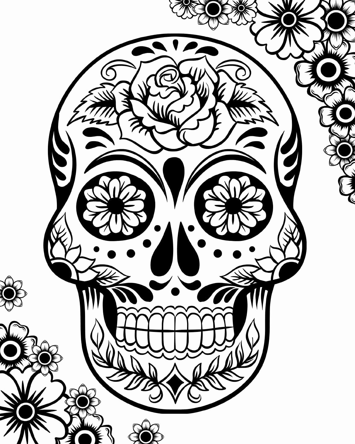 Sugar Skull Template Printable Awesome Free Printable Day Of the Dead Coloring Pages Best