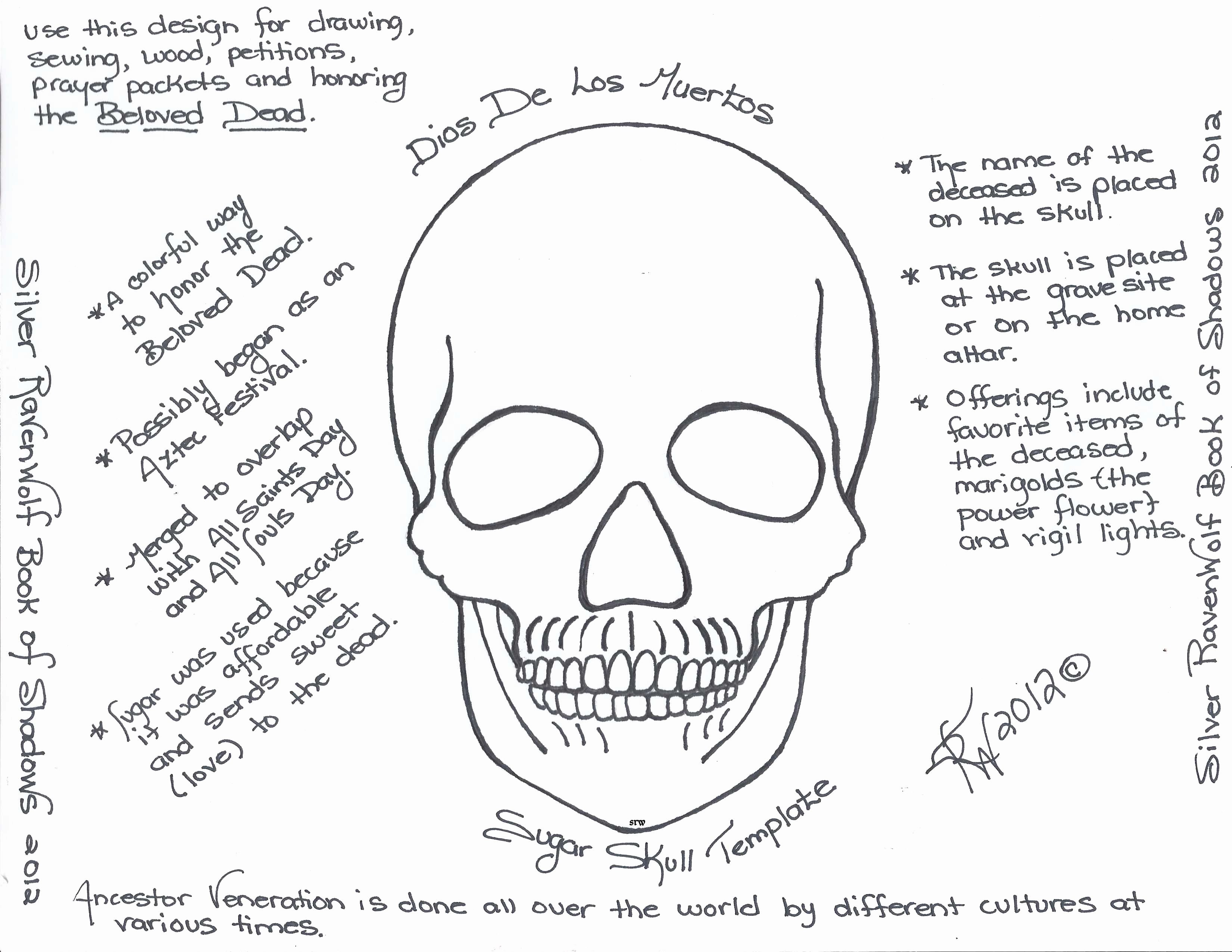 Sugar Skull Template Printable Awesome Magick Notes — Dios De Los Muertos Sugar Skull Template