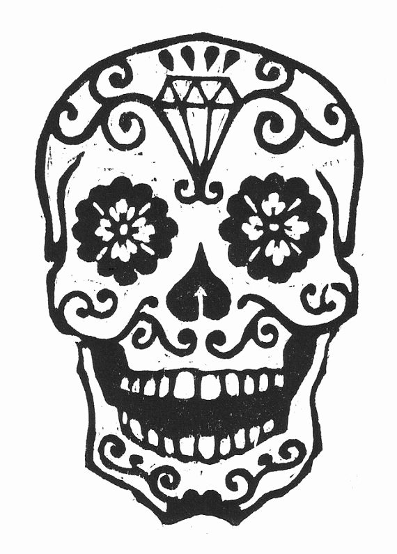 Sugar Skull Template Printable Best Of Sugar Skull Woodcut by Librarianartist On Etsy $20 00