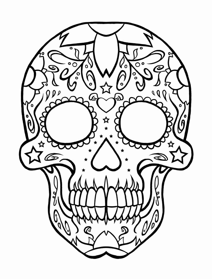 Sugar Skull Template Printable Inspirational Skull Pattern for Children
