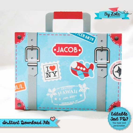 Suitcase Favor Box Template Awesome Instant Download Airplane Birthday Party Baby Shower