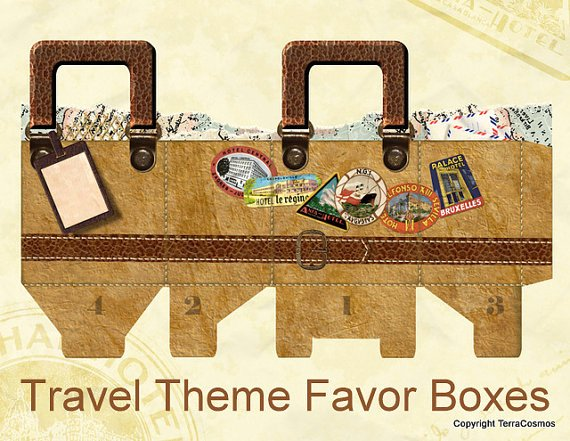 Suitcase Favor Box Template Unique Passport theme Favor Boxes for Destination Wedding Birthday