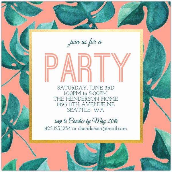 Summer Party Invitation Wording Beautiful Tropical Leaf Summer Party Invitation