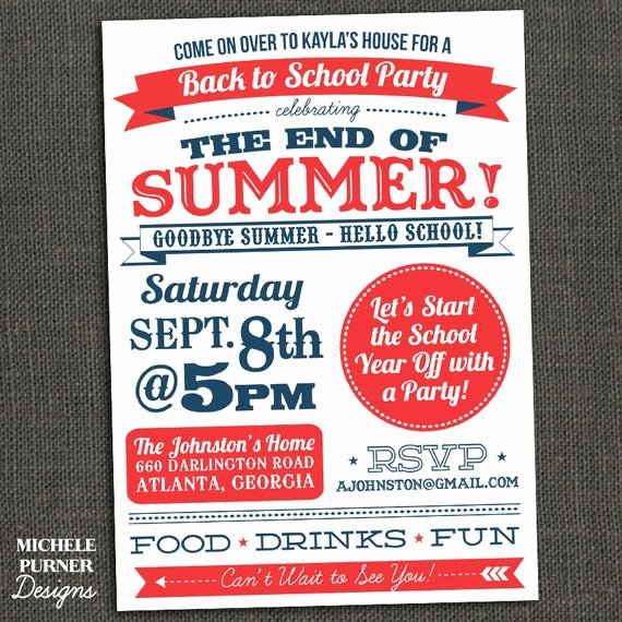 Summer Party Invitation Wording Lovely Items Similar to Back to School End Of Summer Party