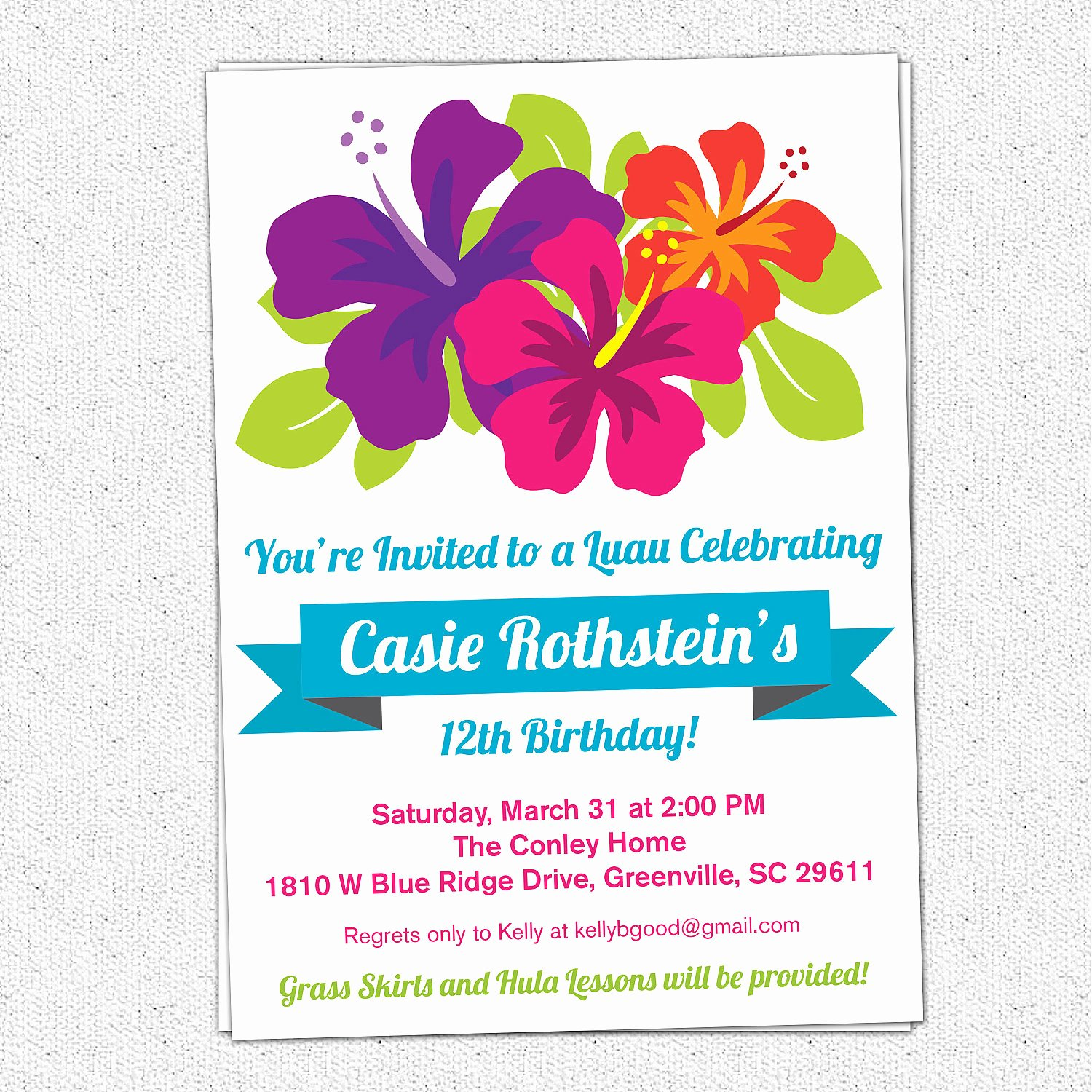 Summer Party Invitation Wording New Luau Birthday Invitations Summer Party Hibiscus Flowers