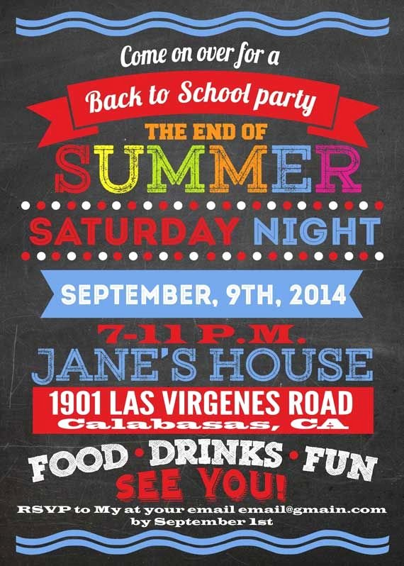 Summer Party Invitation Wording Unique Printable Back to School Party Invitation the End Of
