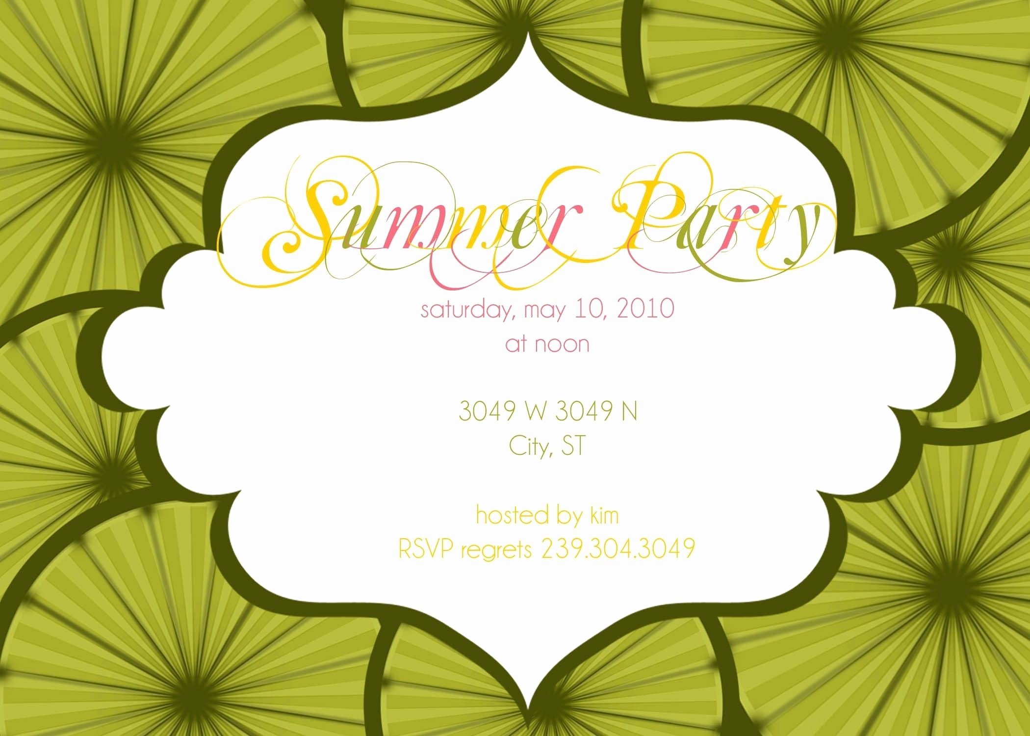 Summer Party Invitation Wording Unique Summer Party Invitation Wording Samples