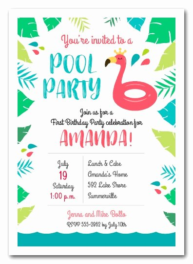 Summer Pool Party Invitations Beautiful Pink Flamingo Pool Float Party Invitations