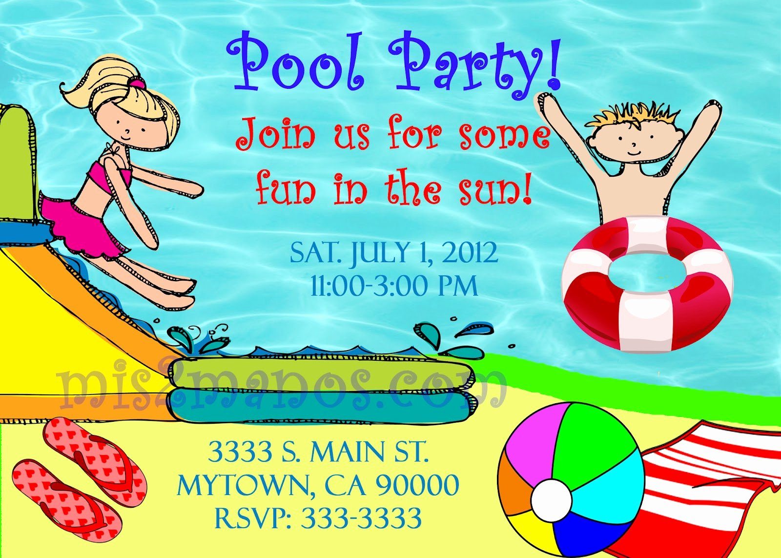 Summer Pool Party Invitations Elegant Mis 2 Manos Made by My Hands Summer Pool Party Invitations