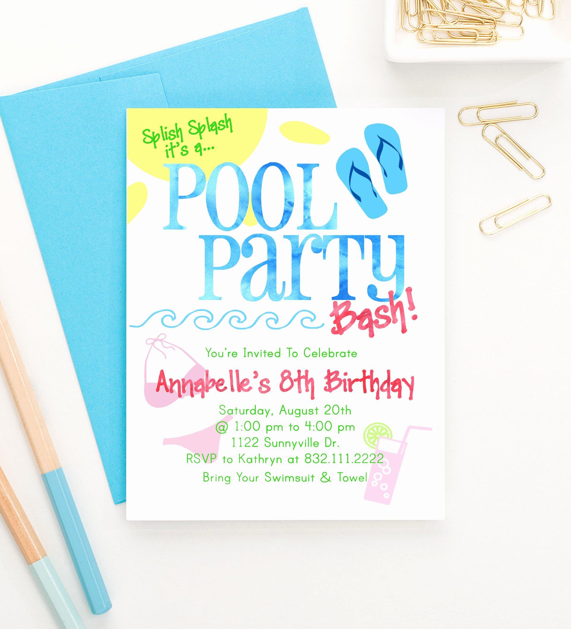 Summer Pool Party Invitations Elegant Pool Party Birthday Invitations Summer Birthday Party