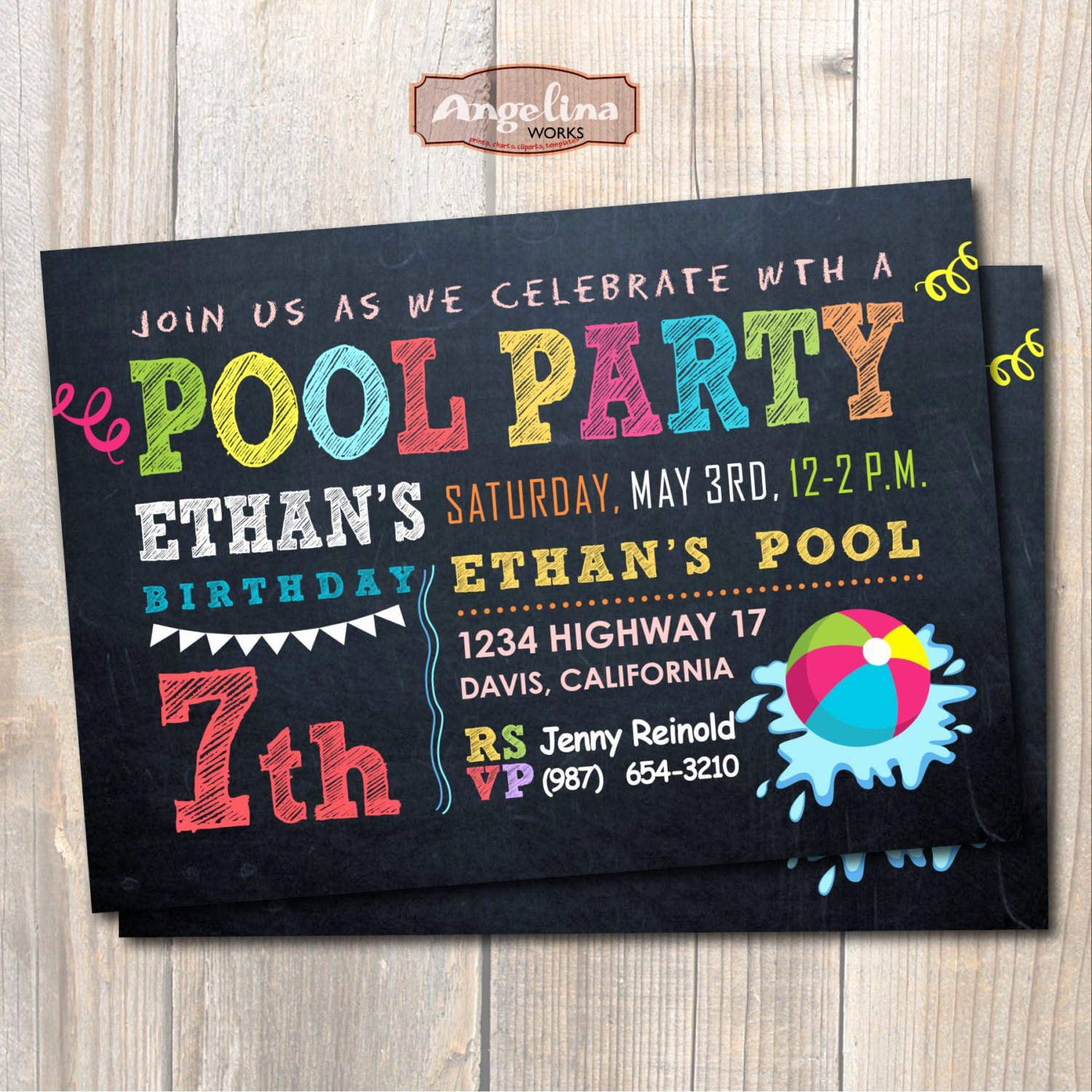 Summer Pool Party Invitations Inspirational Chalkboard Pool Party Invitation Summer Party Diy Card