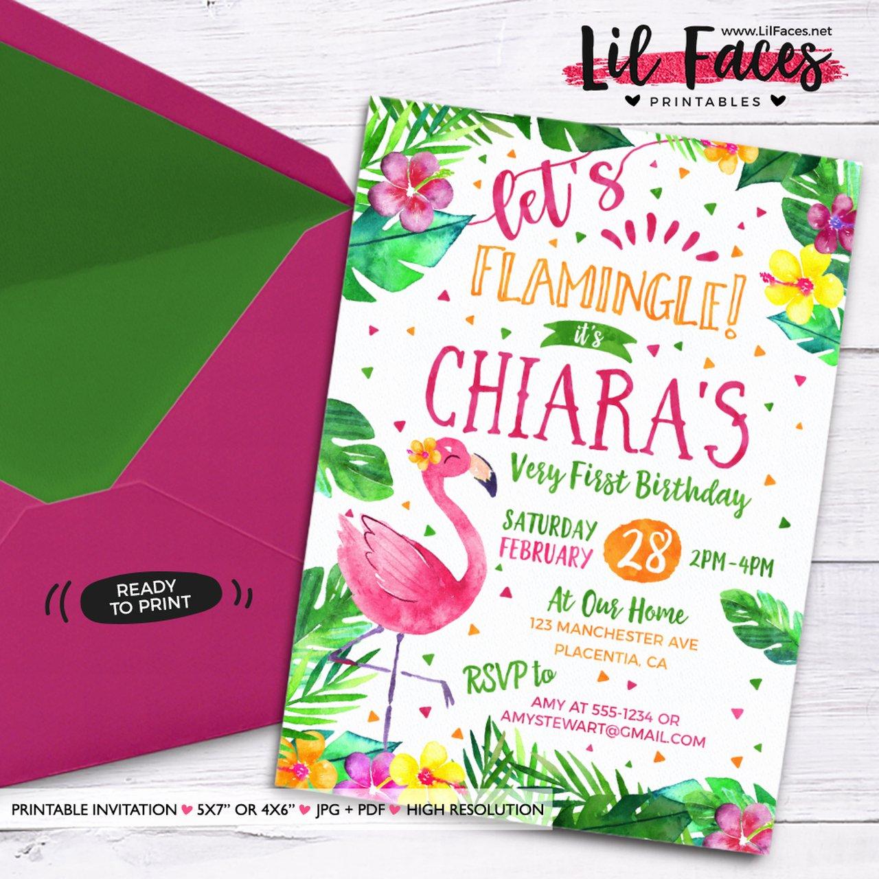 Summer Pool Party Invitations Inspirational Flamingo Birthday Invitation Flamingo Floral Invitations