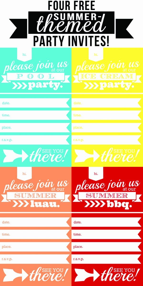 Summer Pool Party Invitations Lovely Four Free Summer themed Party Invites