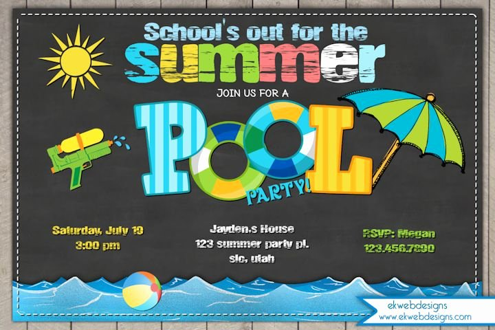 Summer Pool Party Invitations Lovely Summer Pool Party Invitation Schools Out for Summer