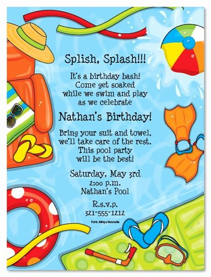 Summer Pool Party Invitations Lovely Summer Splash Birthday Party Invitations