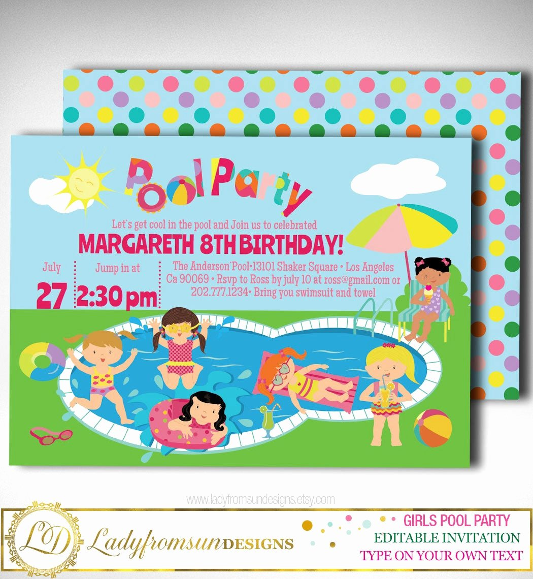 Summer Pool Party Invitations Luxury Girls Pool Party Invitation Pool Party Invitation Summer