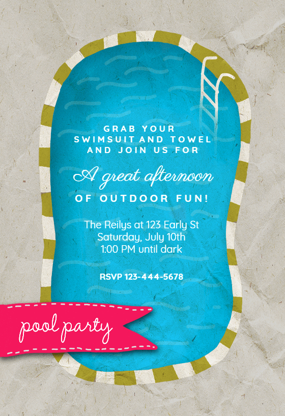 Summer Pool Party Invitations New A Pool Pool Party Invitation Template Free