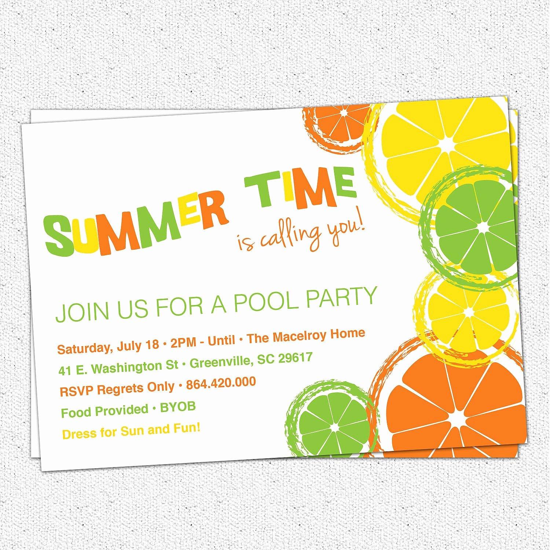 Summer Pool Party Invitations Unique Citrus Invitation Summer Pool Party Lemon Lime orange