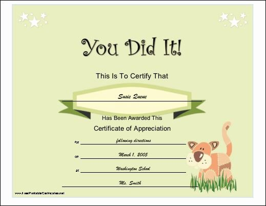 "Sunday School Promotion Certificates Awesome A General ""you Did It"" Certificate Of Appreciation for A"