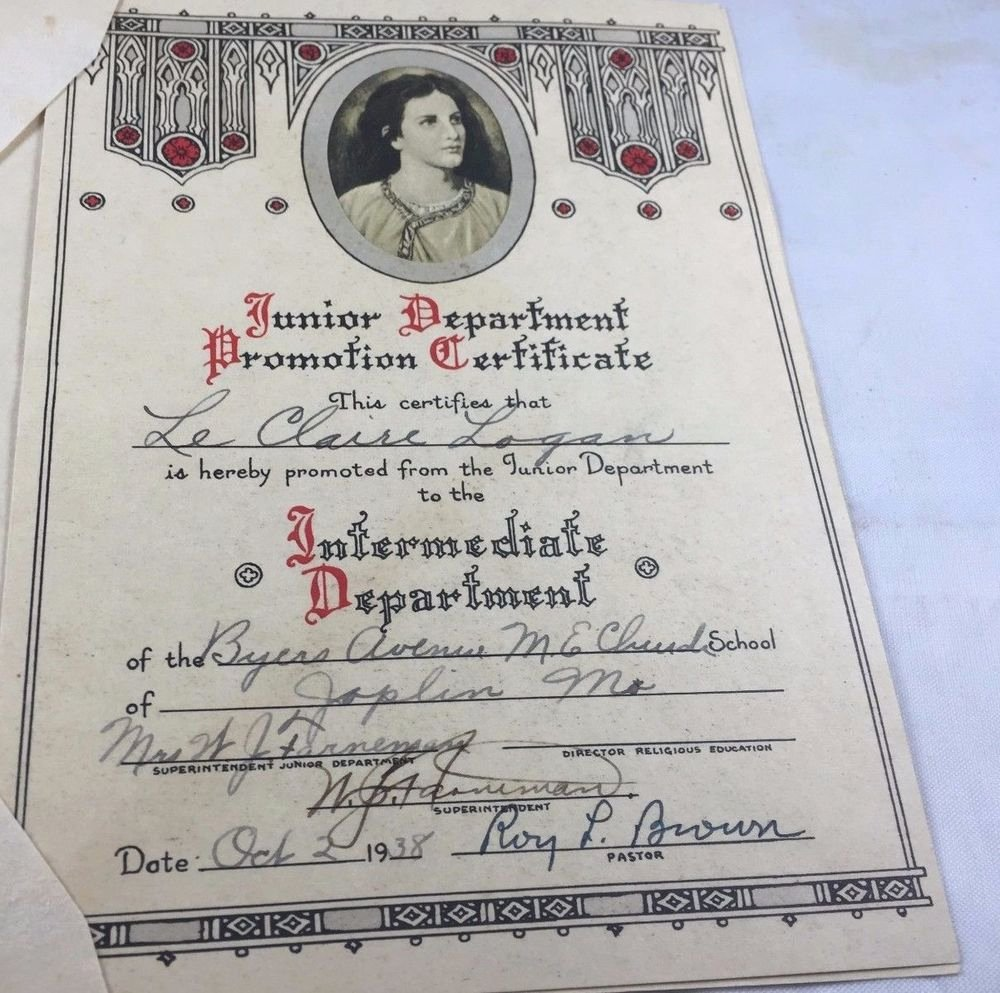 Sunday School Promotion Certificates Inspirational 5x7 Old Antique Promotion Certificate Diploma Joplin Mo